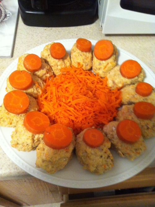 This is the end result! The bed of carrots will hold a healthy heap of Keltchners Red Horseradish.